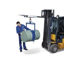 Hordóemelő függeszthető, függőleges és vízszintes is felvehető vele a 200 literes fémhordó 300 kg te