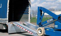 Ipari mobil rámpa 450 cm 1200 kg/db 2400 kg/pár teherbírás. Hordozható teherautó rámpa munkagép szem