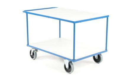 Nagyméretű kézikocsi 500 kg teherbírás, 1200x800 mm rakfelület fékezhető kerekek