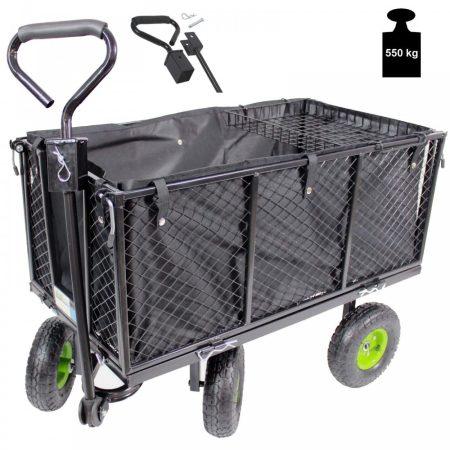 Kézikocsi 550 kg teherbírású rácsos kézikocsi kerti kocsi szállító kocsi