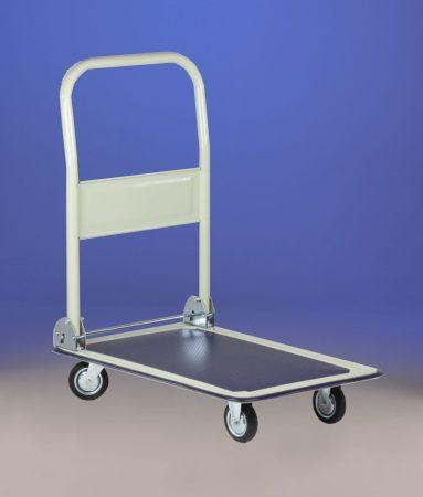 Kézikocsi ládaszállító kiskocsi 150 kg rakfelület mérete: 47x66cm összecsukható. Könnyű, csak 14 kg