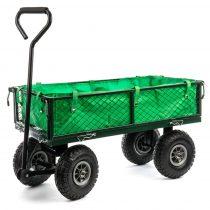 Platós kézikocsi 300 kg teherbírással, nagy méretű kerekekkel, lehajtható oldalú platóval