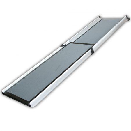 Kutyarámpa alumínium 100x180cm összetolható, így könnyen szállítható. Kisállat feljáró 110 kg teherb