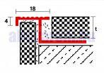 Lépcsőszegély csúszásmentes natúr alumínium 2,5 m hosszban 12,5 mm magas
