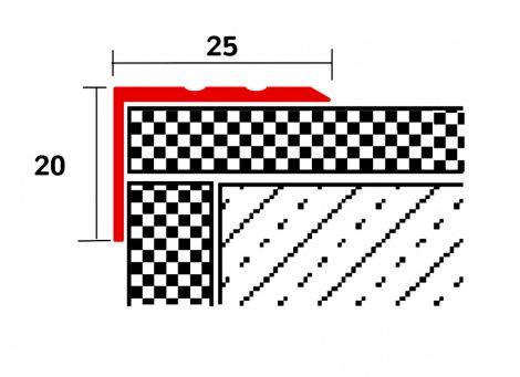 Lépcsőszegély csúszásmentes alumínium 2,7 m utólag beépíthető, eloxált alumínium színű