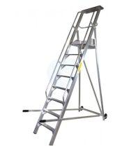 Komissiózó létra lépcsős gurítható alumínium rakodó létra 10 lépcsőfokkal 2,5 méter