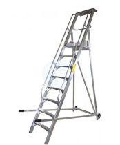 Komissiózó létra lépcsős gurítható alumínium rakodó létra 11 lépcsőfokkal 2,75 méter