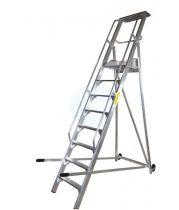 Komissiózó létra lépcsős gurítható alumínium rakodó létra 12 lépcsőfokkal 3 méter