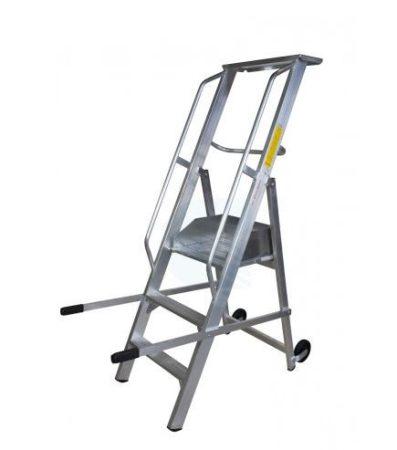 Komissiózó létra lépcsős gurítható alumínium rakodó létra 3 lépcsőfokkal 0,75 méter