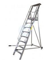 Komissiózó létra lépcsős gurítható alumínium rakodó létra 8 lépcsőfokkal 2 méter