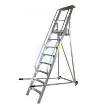 Komissiózó létra lépcsős gurítható alumínium rakodó létra 9 lépcsőfokkal 2,25 méter