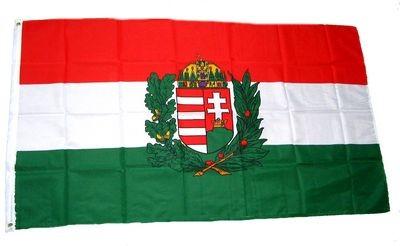 Magyar zászló koronás címerrel 90x150 cm kültéri kivitel