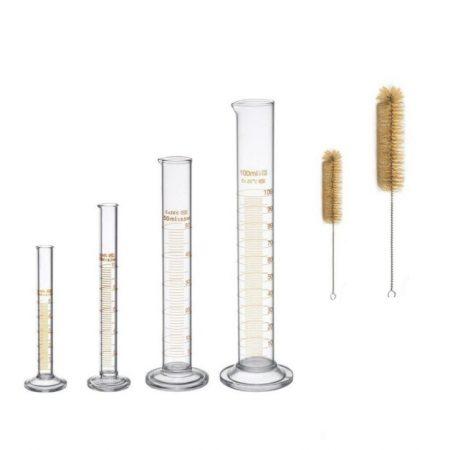 Üveg mérőhenger készlet 4 db henger készlet 5/10/50/ 100 ml két kefével