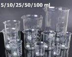 Üveg mérőpohár készlet 5 darabos készlet 5/10/25/50/100 ml laboratóriumi vagy konyhai használatra