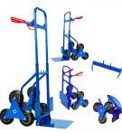 Lépcsőjáró molnárkocsi 3 kerekű kézikocsi 200 kg teherbírás. A rakodó felület mérete 30 x 29 cm