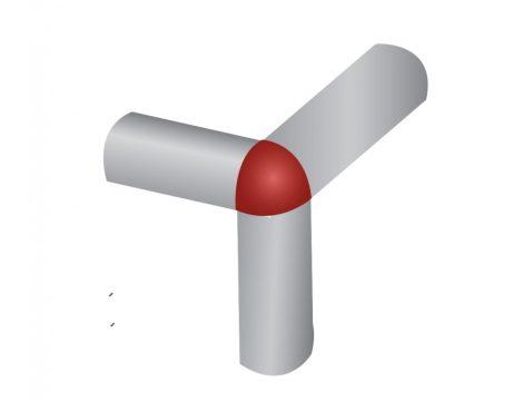 Negyed köríves csempe élvédő domború sarokelem, rozsdamentes inox profil 8 mm