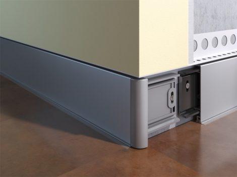 Ezüst padlószegély eloxált alumínium pattintható 2,5 méteres szál