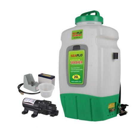 Háti permatező 20 literes tartállyal 58 cm csővel 12V akkumulátorral nagynyomású szivattyúval