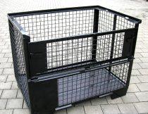 Rácsos tároló konténer erősített, daruzható DIN15155 szabvány szerint, EUR raklap méret