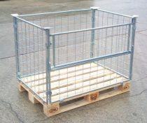 Rácsos tároló konténer, összecsukható, EUR raklap méret belül 800x1200x800 mm