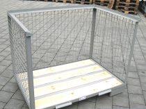 Rácsos tároló konténer oldalt nyitott DIN 15155 szabvány szerint, EUR raklap méret belül 800x1200x51