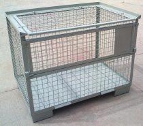 Rácsos tároló konténer zárható tető  DIN 1515 szabvány szerint, EUR raklap méret belül 800x1200x510