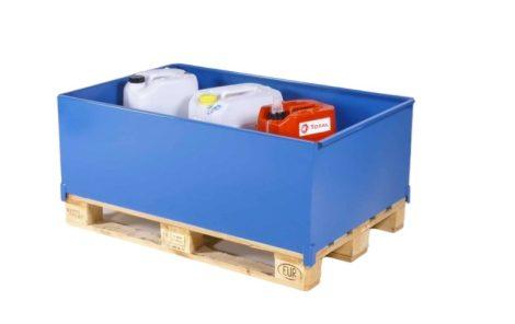 Raklapra rügzíthető tároló láda veszélyes anyagok tárolása, szállítása EUR raklap méretű kármentő