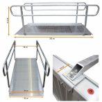 Széles rámpa levehető kapaszkodóval kerekesszék rámpa, rakodó rámpa 400 kg teherbírás 305x90x9,5 cm