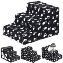 Kutyalépcső 3 lépcsőfok, ENYHÉN SÉRÜLT 30 cm magas fekete fehér mancs mintás huzat
