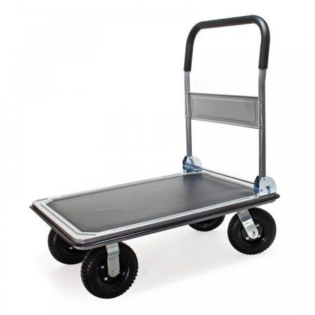 Szállítókocsi, húzható kézikocsi 300 kg teherbírású pneumatikus gumiabroncsokkal és összecsukható csúszásgátló burkolattal