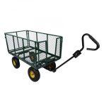Kiskocsi, húzható kézikocsi 550 kg teherbírású, lehajtható oldalú plató, levehető kar, géppel is