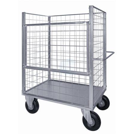 Festett konténerkocsi 400 kg teherbírású fémlemezzel és 4 hálós oldallal 4 pneumatikus kerékkel
