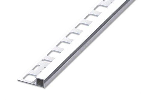 Csempeszegély szögletes alumínium polírozott fényes ezüst 10 mm magas sarokprofil kocka