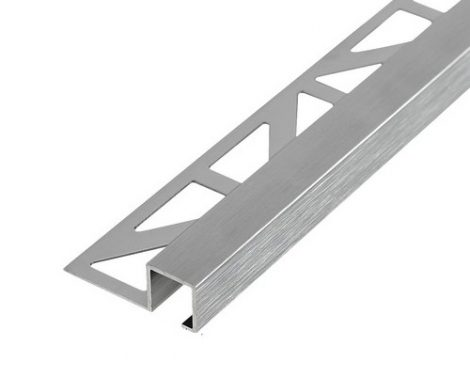 Csempeszegély szögletes alumínium szálcsiszolt ezüst 12 mm magas sarokprofil kocka