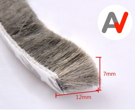 Öntapadós ajtószigetelő kefe, szélfogó kefe szürke 7x12 mm