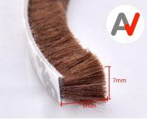 Öntapadós ajtószigetelő kefe, szélfogó kefe barna 7x8 mm