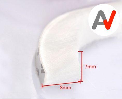 Öntapadós ajtószigetelő kefe, szélfogó kefe fehér 7x8 mm