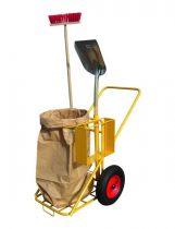 Takarító és szemetes kocsi hulladékzsák tartó, lapát és seprű tartó 200 kg teherbírás. Zsáktartóval