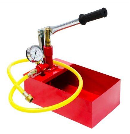 Töltőszivattyú tartályos pumpa 25 bar maximális nyomás. Tesztelő szivattyú és nyomásmérő óra 5 liter