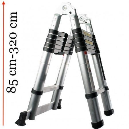 Teleszkópos, alumínium, kétágú létra kinyitva 320 cm, összecsukva 85 cm magas. Multifunkciós