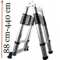 Teleszkópos, alumínium, kétágú létra kinyitva 380 cm, összecsukva 85 cm magas. Multifunkciós, változtatható szárhosszú létra