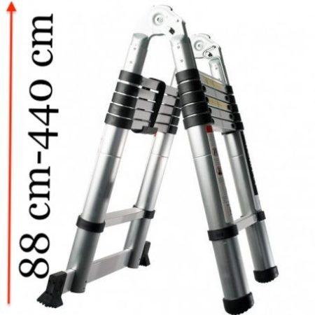 eleszkópos, alumínium, kétágú létra kinyitva 440 cm, összecsukva 88 cm magas. Multifunkciós