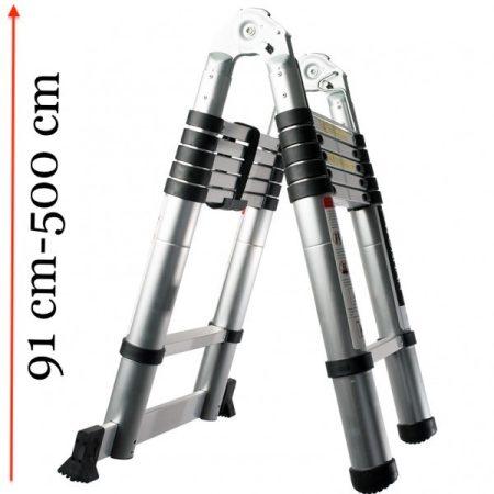 Teleszkópos, alumínium, kétágú létra kinyitva 500 cm, összecsukva 91 cm magas.