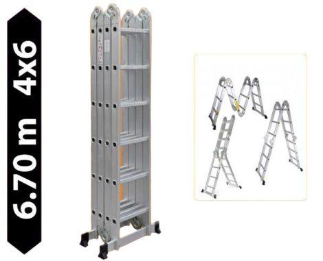 Multifunkciós csuklós létra 6,7 méter magas 4 részes összehajtható, összecsukható, 4x6 létrafok