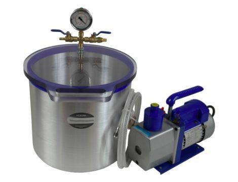 Vákuumkamra és vákuumszivattyú 230V 370W 170 liter/perc 0,00005 Bar + 20 literes vákuumtartály