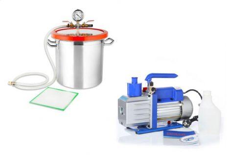Vákuumkamra és vákuumszivattyú RS-05 230V 120W 50 liter/perc 0,00005 Bar + 17 literes vákummtartály