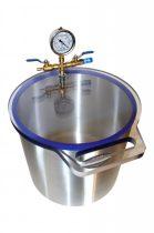 Vákuumtartály, vákuumkamra 20 literes alumínium, polikarbonát vagy üveg fedő