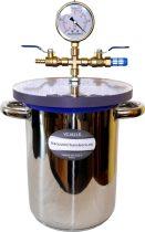 Vákuumtartály, vákuumkamra 4,2 literes saválló acél, polikarbonát fedél