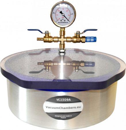 Vákuumtartály, vákuumkamra 4,8 literes alumínium, polikarbonát vagy üveg fedő