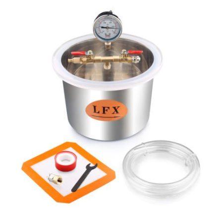 Vákuumtartály, vákuumkamra 5 literes rozsdamentes inox tartály